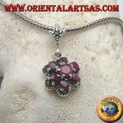 Silver flower of life pendant (six petals) with natural round rubies set surrounded by marcasite