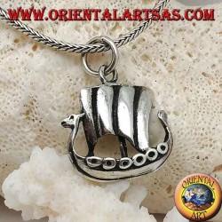 Ciondolo in argento, nave a vela cannoniera Vichinga