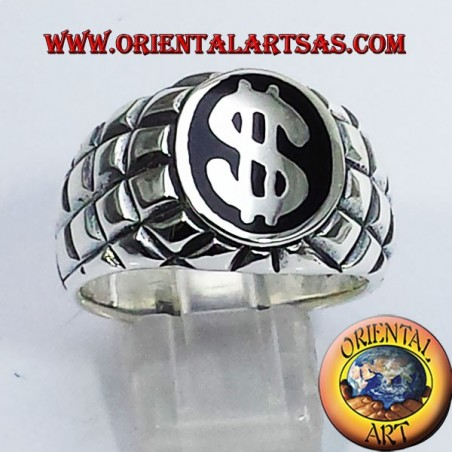 anello in argento con simbolo del dollaro