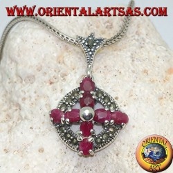 Silver pendant cross of natural rubies set with a ball in the center on a circle with marcasites