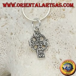 Silver pendant Celtic cross with engraved runes (small)