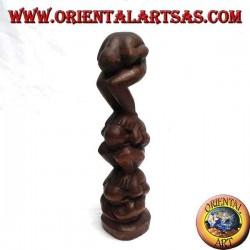 """Skulptur Vertreter des Atman (Yogi Karma) """"Ich sehe nicht, ich spreche nicht, ich höre nicht"""" in 30 cm Suar Holz"""