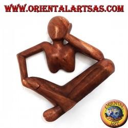 Scultura del pensatore appoggiato sul gomito in legno di suar da 20 cm