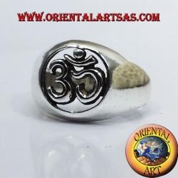 Om silver ring pierced silver