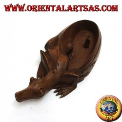 Ashtray in the shape of agamidae, scaled reptile with mahogany wooden cigarette holder