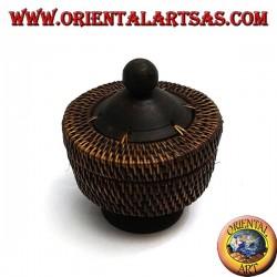 Scatola cilindrica con piedistallo in legno di mogano e midollino