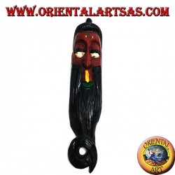 Mask of the elderly wise man of Nepalese origin in rosewood 50 cm (red)