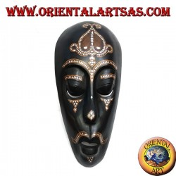 Aboriginal Lombok mask in dark mahogany wood with 50 cm mother of pearl inlays