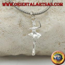 Silver pendant ballet dancer in tutu in fourth position