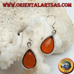 Silver earrings with natural drop amber on a smooth setting