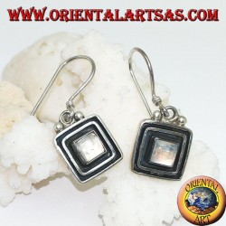Silver earrings with square rainbow moonstone surrounded by a double raised frame