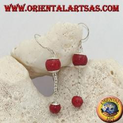 Pendientes colgantes de plata con doble bola de madrepora roja (coral) y cadena de plata