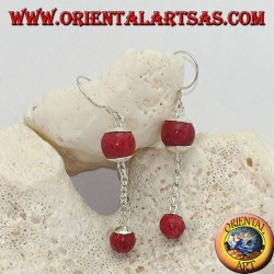 Silver pendant earrings with double red madrepora ball (coral) and silver chain