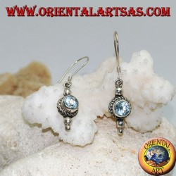 Round blue topaz silver earrings surrounded by interlacing and a small ball above and two below