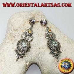 Boucles d'oreilles en argent avec trois fleurs d'améthyste, de topaze et d'aigue-marine et décorations florales avec marcassite