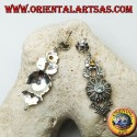 Silver earrings with three amethyst, topaz and aquamarine flowers and floral decorations with marcasite