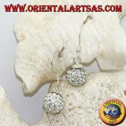 Silberohrringe mit Kugel besetzt mit hängenden weißen Zirkonen