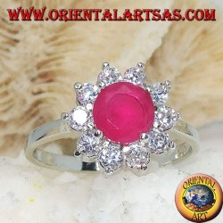 Silver flower ring with synthetic round ruby with embedded white zircon petals