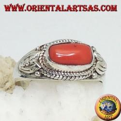 Anello in argento con corallo naturale di traverso (fatto a mano)