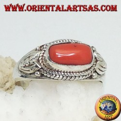 Silver ring with natural coral and surrounded by lotus flower petals decorations
