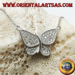 Ciondolo in argento a farfalla con ali tempestate di zirconi completo di catenina da 45 cm