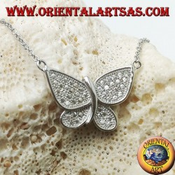 Silver butterfly pendant with zirconia studded wings complete with 45 cm chain