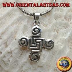 Pendentif en argent croix de spirales celtiques