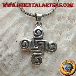 Silver pendant cross of Celtic spirals