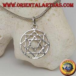 Ciondolo in argento stella di David a sei punte nella stella polare o stella del mattino (a otto punte)