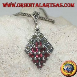 Silver rhombus pendant with nine garnets and surrounded by marcasites at the top
