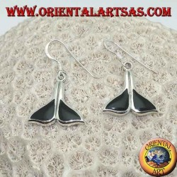 Silver earrings in the shape of a whale tail with onyx