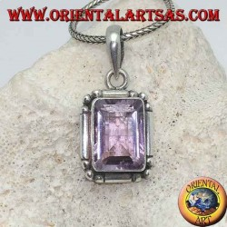 Silver pendant with a splendid natural rectangular amethyst on a simple frame with balls on the corners