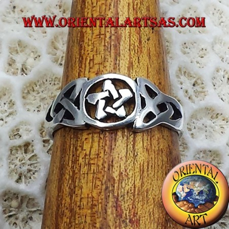 pentacle ring with Celtic knot silver