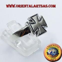 anillo cruzado templarios en plata