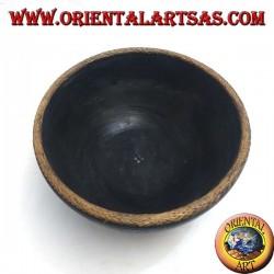 Bol Lombok profond en bois d'acajou, bordure en osier et incrustations de nacre de 30 cm