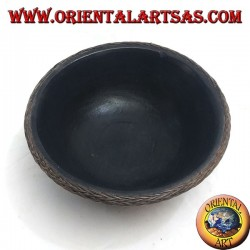 Lombok Aboriginal bowl in mahogany wood and 20 cm wicker outer edge