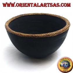 Bol aborigène Lombok en bois d'acajou et bordure en osier clair de 25 cm