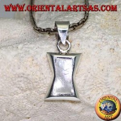 Silver pendant in the shape of a concave rectangle in the center with rectangular mother of pearl