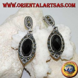 Silver earrings with oval faceted onyx surrounded by marcasite and lobe clasp