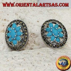 Turquoise flower silver earrings set in a marcasite circle with block closure