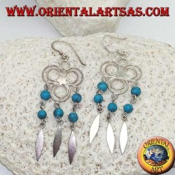 Three circles silver earrings with central star and hanging rows of turquoise and silver balls