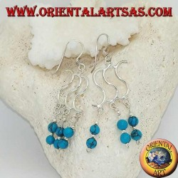 Silver earrings with triple S and three rows with two turquoise balls alternating with silver