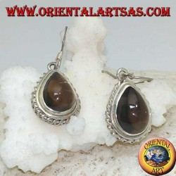 Silver earrings with drop-shaped smoky topaz surrounded by a light weave