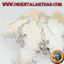 Silberohrringe mit Kreuzanhänger aus weißen Zirkonen