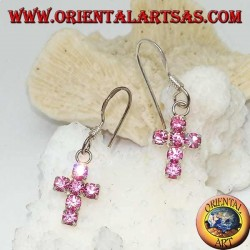 Silver earrings with cross pendant of pink zircons set