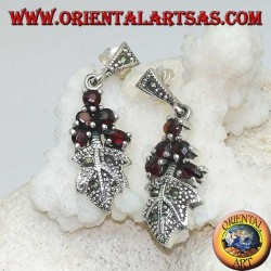 Silver earrings with 5 garnets set on a marcasite studded leaf