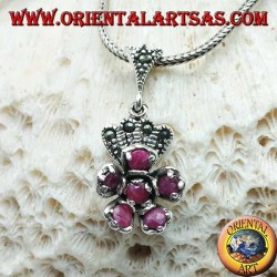 Silver flower pendant of natural rubies set with marcasite crown