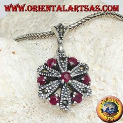 Daisy silver pendant with 6 +1 round and marcasite natural rubies