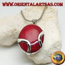 Ciondolo in argento madrepora rossa (corallo) ovale attraversata da due fascette d'argento