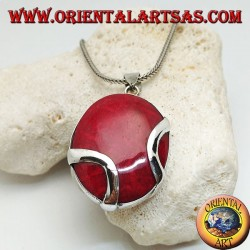 Oval red (coral) madrepora silver pendant crossed by two silver bands